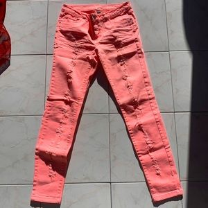 Neon pink ripped skinny jeans, DENIM CO